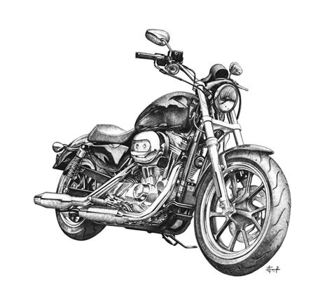 Harley Davidson Drawings by Harley Davidson Superlow Ballpoint Pen Drawing By Taucf On