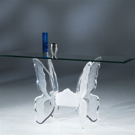 clear sofa table acrylic clear butterfly ii sofa table with glass top