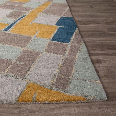 big blue rug modern geometric big cats wool area rug blue multi 2 l x 3 w jaipur rugs touch of modern