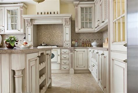 Antique White Glazed Kitchen Cabinets Antique White Kitchen Cabinets With Chocolate Glaze Home Design Ideas