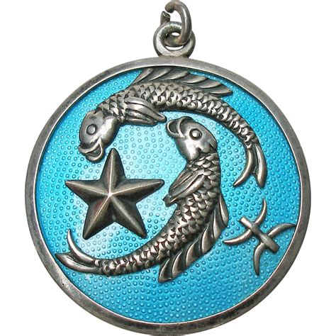 sterling and enamel margot de taxco pisces pendant from