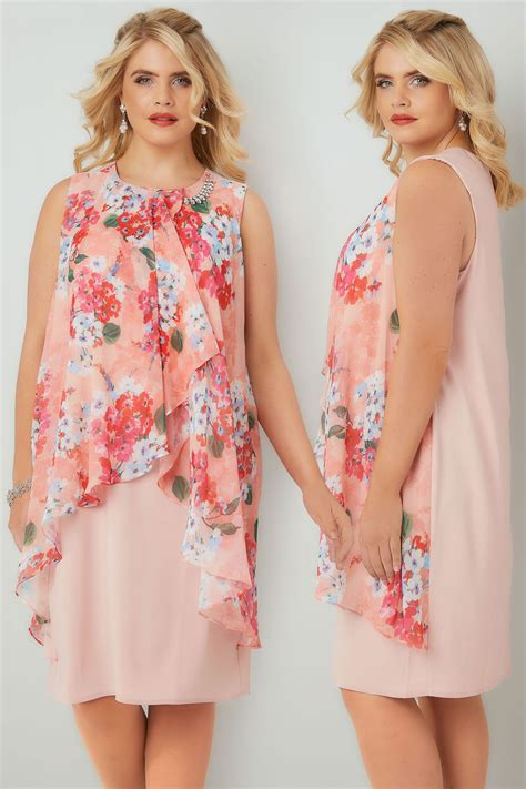 Gift Card Address Verification - pink coral floral printed dress with layered front diamante detail neckline plus