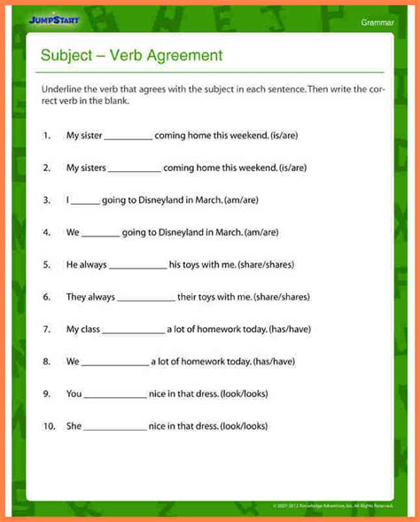 4 subject verb agreement worksheets grade 5 purchase