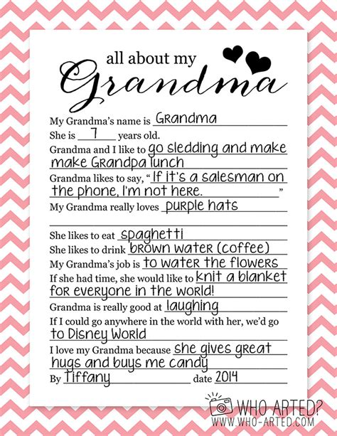 printable grandma questionnaire mother s day questionnaire