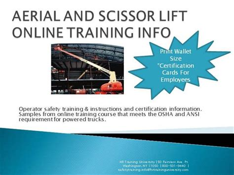 Aerial And Scissor Lift Online Training Info Authorstream Aerial Lift Certification Card Template