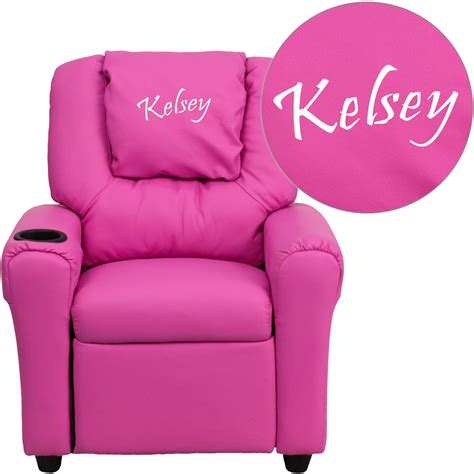 childrens reclining chairs flash furniture personalized vinyl kids recliner with cup