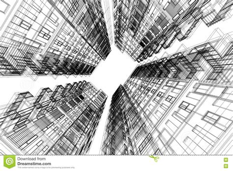 3d building drawing high building structure architecture abstract 3d