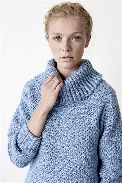 Pattern Neck Sweater easy cowl neck pullover allfreecrochet