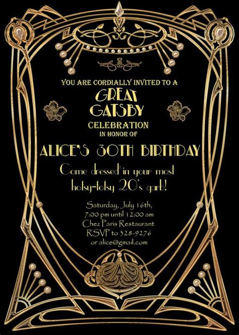 gatsby invitations templates invitation templates great gatsby invitations