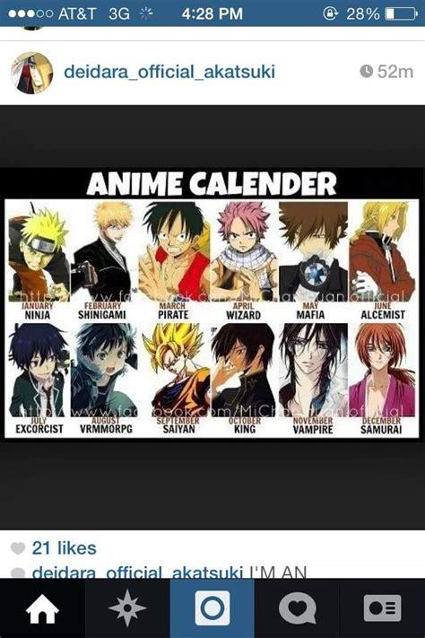 Anime Calendar Birth Month Anime Calendar Anime Amino