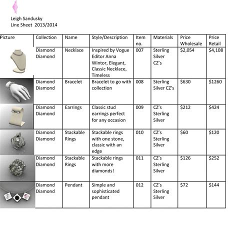 jewelry line sheet sle quotes