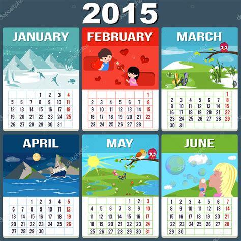 Months Of The Year Calendar Calendar 2015 Six Months Of New Year Stock Vector