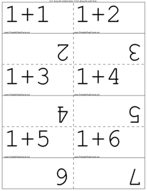 math addition flash cards template addition facts flash cards