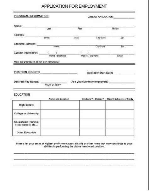 printable job application for chili s sle job application restaurant employment application