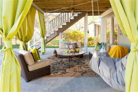 How To Decorate A Small Backyard by Outdoor Living Room Rug Sofas Patio Backyard Curtains How
