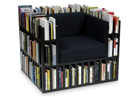 8 unique chairs with built in bookcase for bookworms