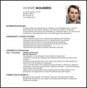 Modelos De Curriculum Vitae No Profesional Modelo Curriculum Vitae Soldado De Infanter 237 A Profesional Livecareer