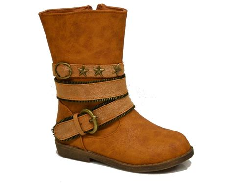 youth light brown boots w 1 quot heel shoes flat boots