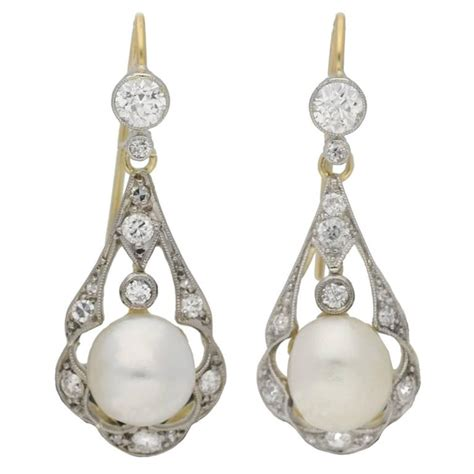 Antique Chandelier Earrings Antique Pearl Gold Platinum Chandelier Earrings For Sale At 1stdibs