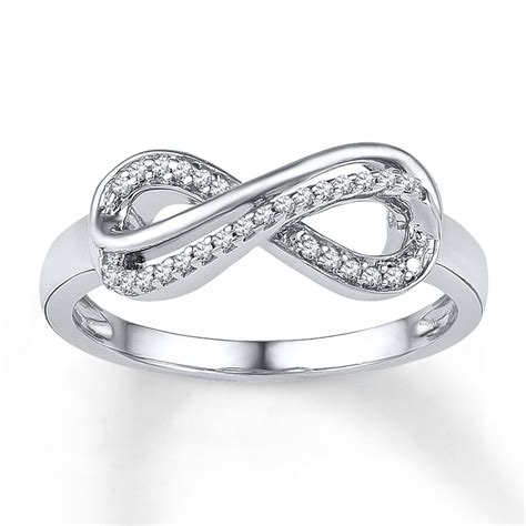 white gold infinity ring infinity ring 1 10 ct tw cut 10k white
