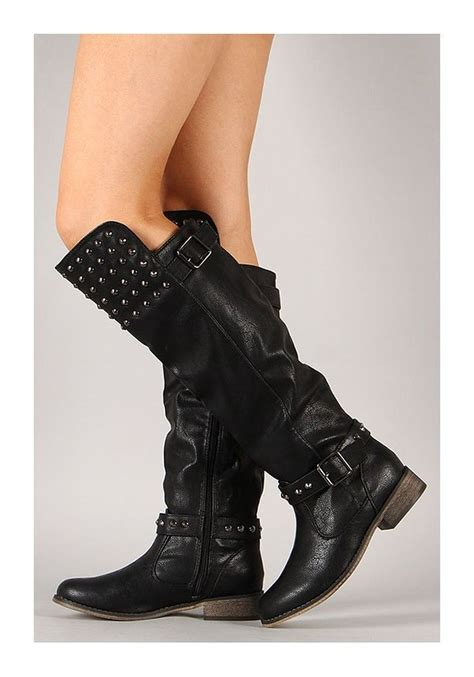 black studded buckle knee high boot womens funky
