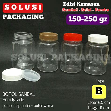 jual botol sambal b 150 200gram jar botol plastik botol selai tempat bumbu solusi packaging