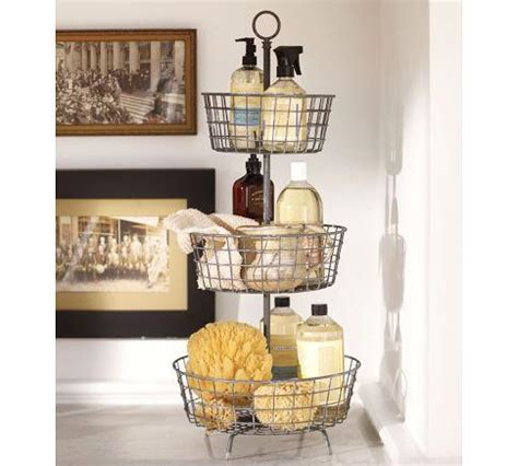 pottery barn bathroom shelves tiered bath storage vintage iron finish pottery barn