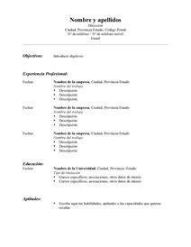 Curriculum Vitae Examples by Modelos De Resume Modelo Curriculum