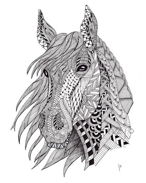 zentangle horse coloring page pin by patricia diniz on arteemmim pinterest