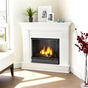 real chateau corner ventless gel fireplace white