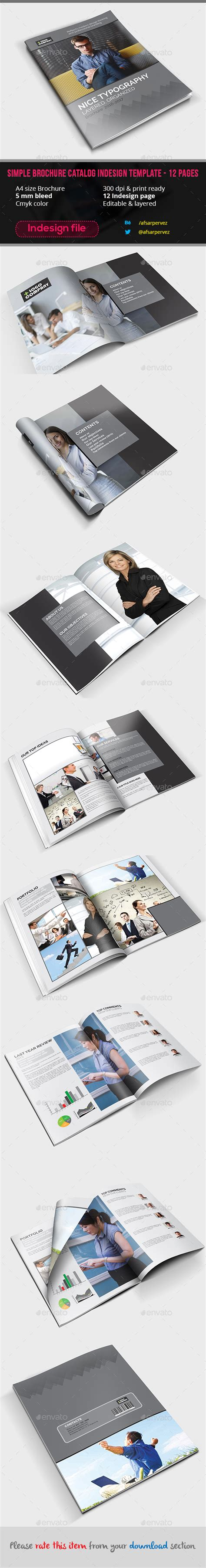 simple brochure catalog indesign template 12 pages by
