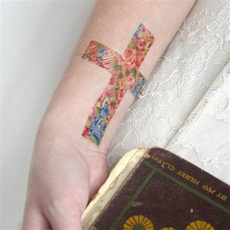 floral cross tattoo temporary floral cross flowers from siideways