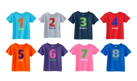 T Shirt Combi Colour number shirt birthday shirt personalized birthday shirt