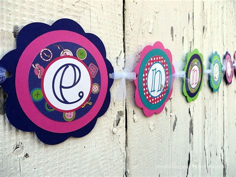 button birthday party name banner