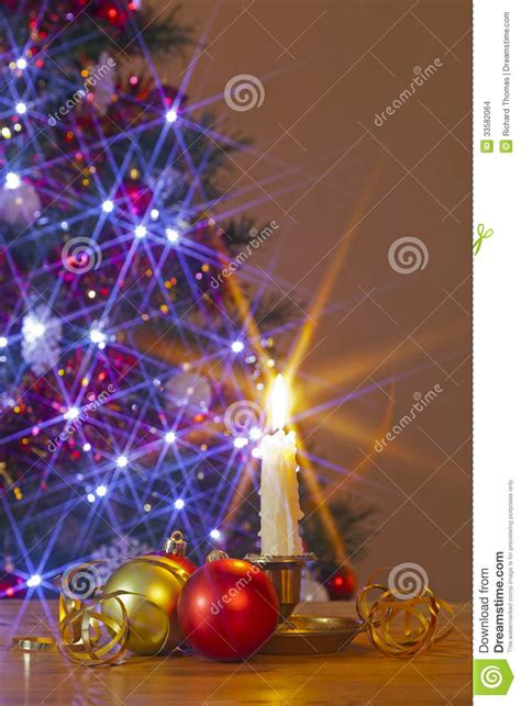 bauble table decoration candle and baubles stock images image 33582064