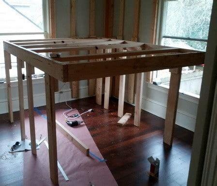diy elevated kids bed frame  storage area