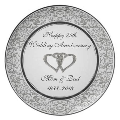 25th Wedding Anniversary Melamine Plate   Anniversary