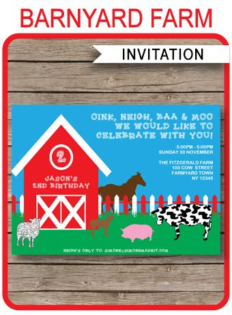 printable barnyard farm invitation template