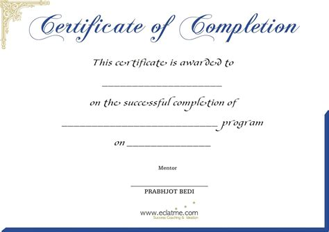 Free Printable Blank Certificate Of Completion Flyers Certificate Of Completion Template Free