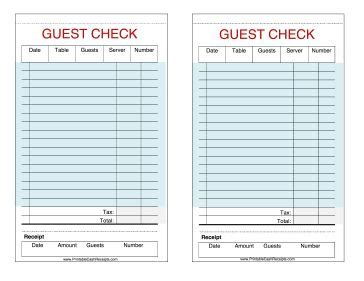 printable pretend receipts these printable guest checks are useful as restaurant