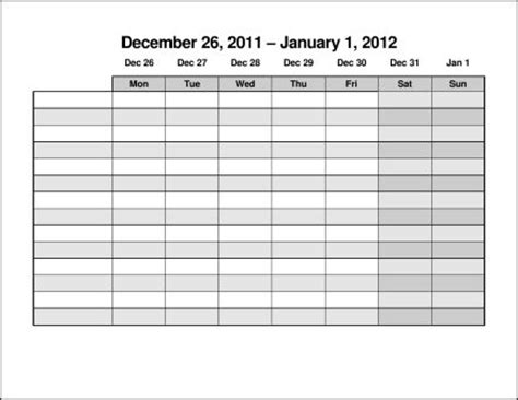 weekly schedule template monday sunday gidiye