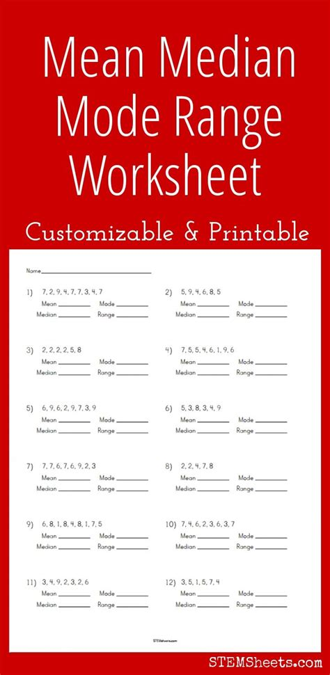 Median Mode Worksheets by Customizable And Printable Median Mode Range