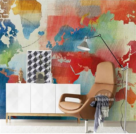 3d room wallpaper custom mural non woven photo retro world map painting picture 3d wall