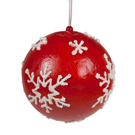 baubles and bauble with white painted snowflakes 100mm