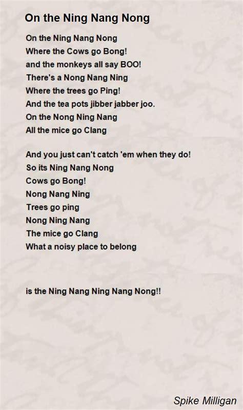 printable version ning nang nong on the ning nang nong poem by spike milligan poem hunter