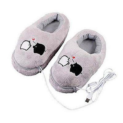 s mores usb heated plush slippers electric heat slipper usb gadget grey piggy plush usb