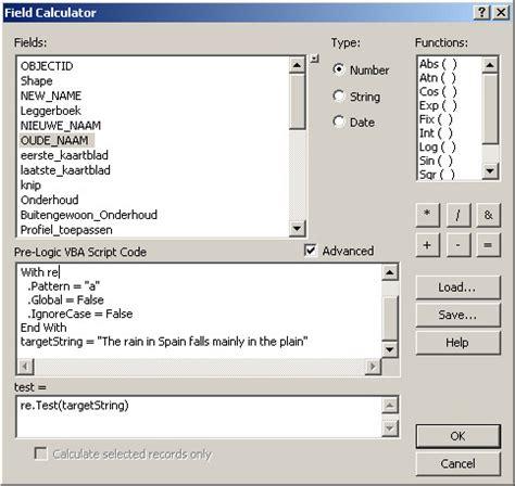 vbscript regular expression in arcmap field calculator
