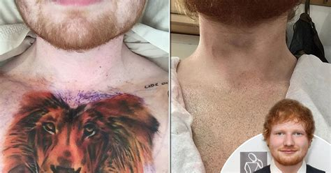 ed sheeran new tattoo on his chest ed sheeran reveals his lion tattoo was a joke as he