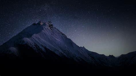 wallpaper dark mountains stars hd nature