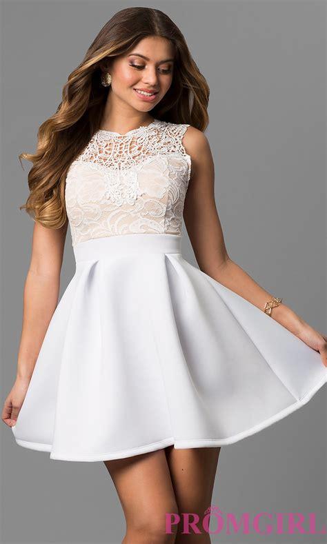 White Day Wedding Dresses by Lace Bodice Graduation Dress Promgirl